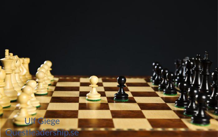 Ett schackspel som belyser förhandlingsteknik, från det taktiska perspektivet.